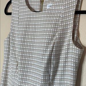 Calvin Klein size 4 tan and cream work dress.